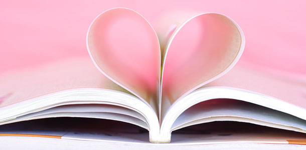 Book pages form heart