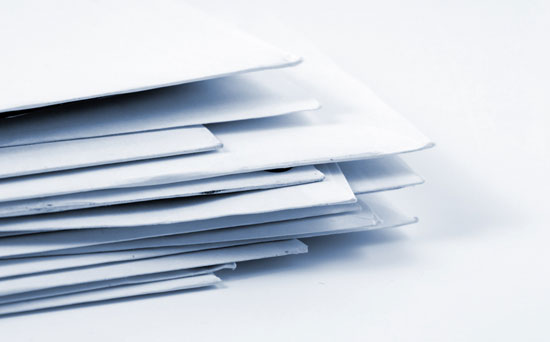 Stack of envelopes, query letters